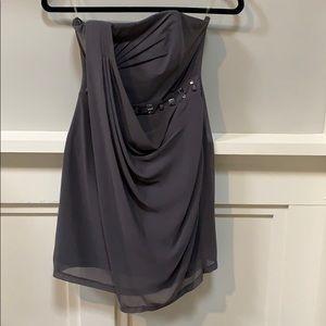 Gray embellished strapless cocktail dress